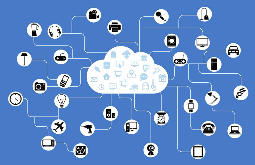 In der Mitte des Bildes befindet sich ein Cloud-Symbol, aus dem viele kleine runde Icons (Symbole), verbunden durch Linien, ausgehen. Die Symbole stehen für den Haushaltsbedarf, Unterhaltungsgegenstände, Fortbewegung. Beispielsweise: Standmixer, Drucker, Mikrofon, Uhr, Telefon, Auto, Brief oder Flugzeug.