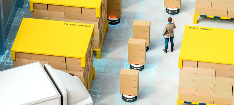 Auf dem Bild ist ein digitales Lager zu sehen, indem Pakete von Transportrobotern transportiert werden
